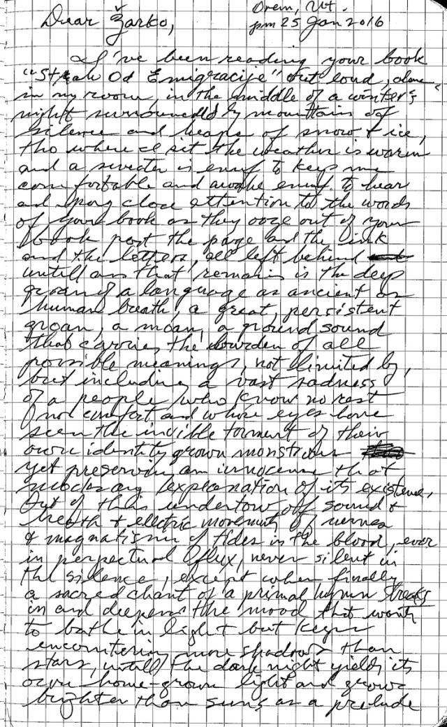 Zarko,  holograph letter to Z3